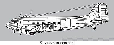 dibujo, c-47, douglas, contorno, dc-3., vector, skytrain, ...