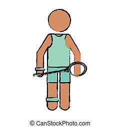 dibujo, carácter, bádminton, jugador, raqueta, uniforme verde