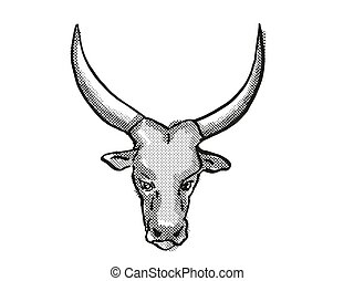 dibujo, caricatura, ankole-watusi, retro