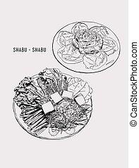 dibujo, cerdo, objects., vegetales, conjunto, comida de familia, feliz, gráfico, set., objetos, diseño, /, shabu