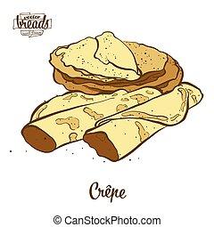 dibujo, coloreado, cr?pe, bread