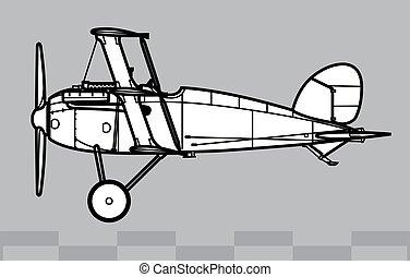 dibujo, contorno, dr.ii., albatros, vector