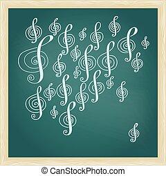 dibujo, de, música, clave de sol, en, pizarra verde, con, marco
