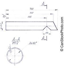dibujo, de, mecánico, partes, hecho, ??with, lápiz
