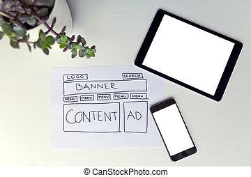 dibujo, de, sitio web, desarrollo, alambre, frame., estructura, de, tela, page., diseño telaraña