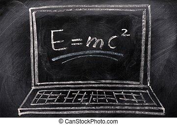 dibujo de tiza, de, computador portatil