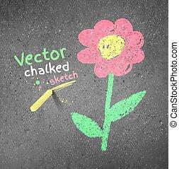 dibujo de tiza, flower.
