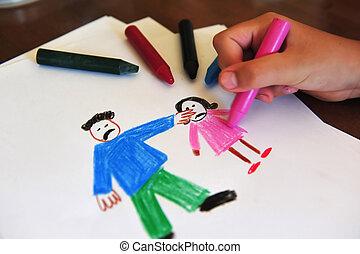dibujo, exposiciones, niñas jóvenes, interior, sentimientos, sobre, ser, abusado