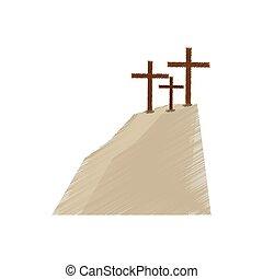 dibujo, golgotha, colina, tres, cruces
