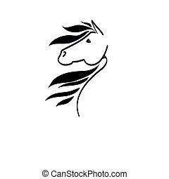 dibujo lineal, de, un, caballo, cabeza