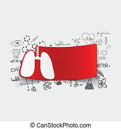 dibujo, médico, formulas:, pulmón