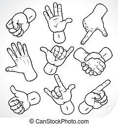 dibujo, manos
