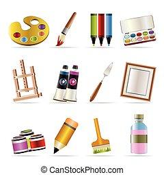 dibujo, pintor, pintura, iconos