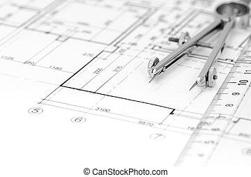 dibujo, primer plano, plan, arquitectónico, compás