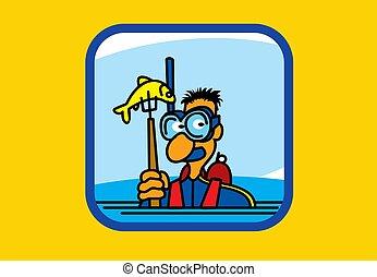 dibujo, recreación, diving., fishing., pastime., vector, deportes, illustrations., activo, lanza