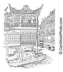 dibujo, señal, 7, mano, china