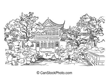 dibujo, señal, mano, 9, china