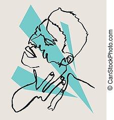 dibujo, solo, ilustración del hombre, sensual, sketchy,...