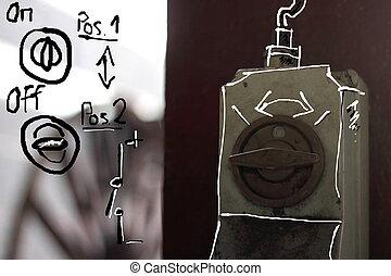 dibujo técnico, en, industrial, foto