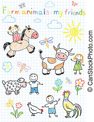 dibujos, animales, granja, niños, vector, feliz