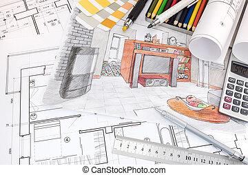 dibujos, apartamento, diseñador, espacio de trabajo, interior, herramientas, dibujo