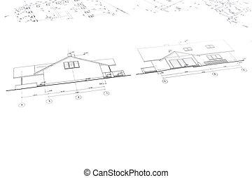 dibujos arquitectónicos, de, casa nueva