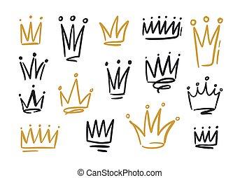 dibujos, blanco, soberano, potencia, monarquía, vector, coronas, rey, dorado, símbolos, autoridad, negro, mano, queen., contorno, illustration., lío, fondo., o, dibujado, líneas, coronas