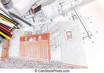 dibujos, cianotipo, rollos, habitación, moderno, mano, lugar de trabajo, interior, dibujado, diseñadores, herramientas, dibujo