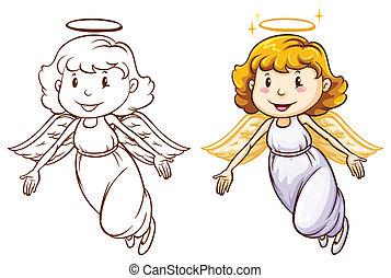dibujos, de, ángeles, en, diferente, colores