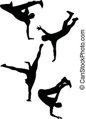 dibujos de baile, negro, cuatro, salto, cadera