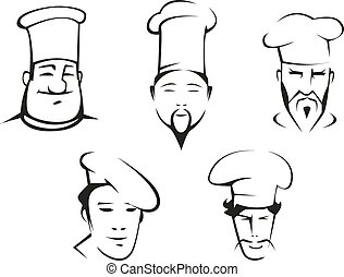 dibujos, de, chefs, cabezas