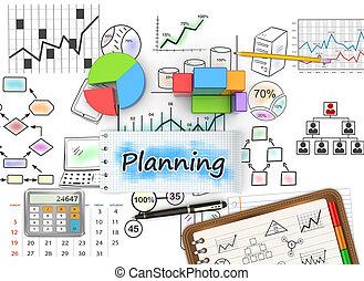 dibujos, de, mercadotecnia, planificación