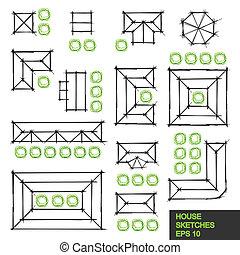 dibujos, de, pequeño, casas