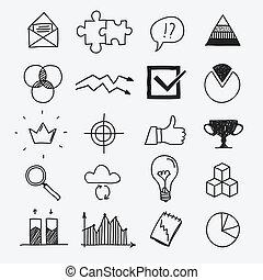 dibujos, elementos, empresa / negocio, garabato, mano, ...