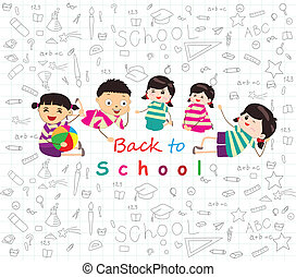 dibujos, escuela, espalda