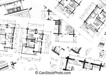 dibujos, gráfico, plano de fondo, pluma, arquitectónico