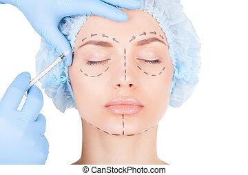 dibujos, mantener, mujer, headwear, médico, joven, cara, mientras, atractivo, cerrado, doctors, inyección de botox, mano, ojos, injection., elaboración