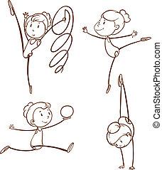 dibujos, niña, gimnasia
