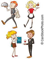 dibujos, simple, camareras, camareros