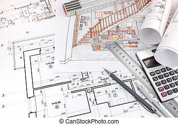 dibujos, vida, planos, habitación, mano, dibujado, interior, tabla, diseñadores, herramientas, dibujo