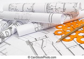 dibujos, y, vario, herramientas
