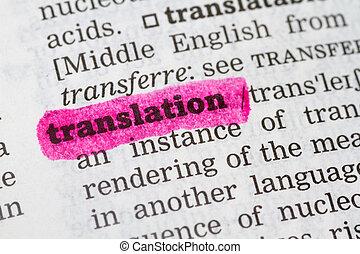 diccionario, definición, traducción