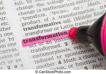 diccionario, definición, transformación