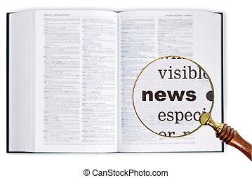 diccionario, encima, vidrio, por, noticias, Aumentar