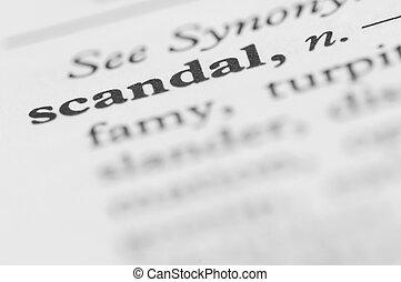diccionario, serie, -, escándalo