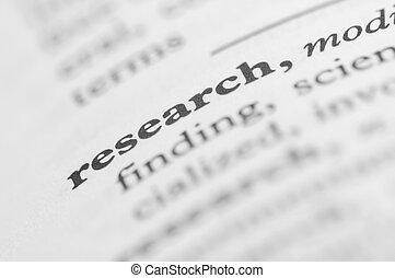 diccionario, serie, -, investigación
