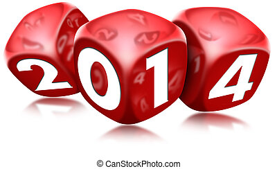 Three red dice with the written 2014 and reflections