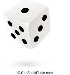 Dice 3 - White dice isolated on white
