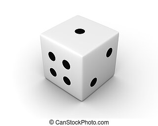Dice - 3D rendered Illustration. Isolated on white.