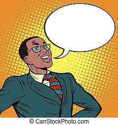 dice, americano, africano, uomo affari, comico, bolla
